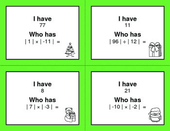 Christmas Math: I Have, Who Has - Absolute Value - Multiplication & Division