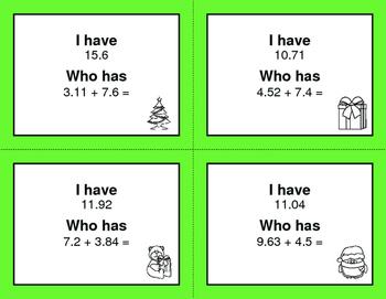 Christmas Math: I Have, Who Has - Adding Decimals