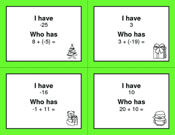 Christmas Math: I Have, Who Has - Adding Integers