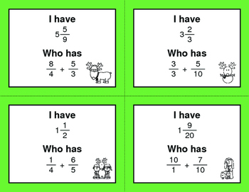 Christmas Math: I Have, Who Has - Adding Unlike Fractions