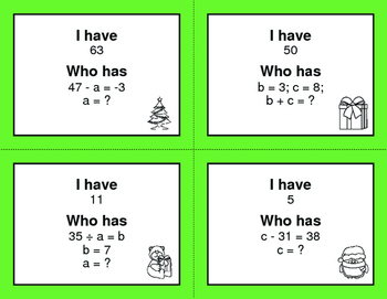 Christmas Math: I Have, Who Has - Algebra