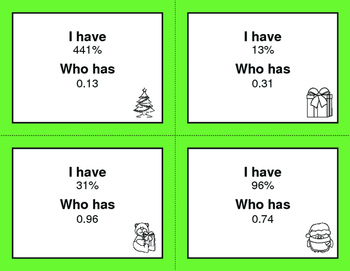 Christmas Math: I Have, Who Has - Decimals and Percents