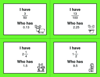 Christmas Math: I Have, Who Has - Decimals to Fractions
