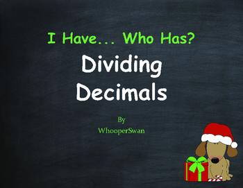 Christmas Math: I Have, Who Has - Dividing Decimals
