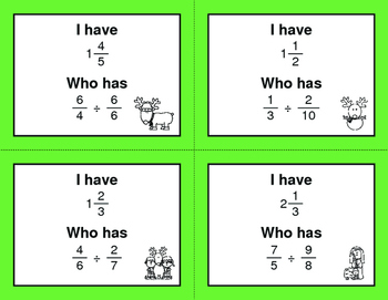 Christmas Math: I Have, Who Has - Dividing Fractions