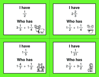 Christmas Math: I Have, Who Has - Dividing Mixed Fractions