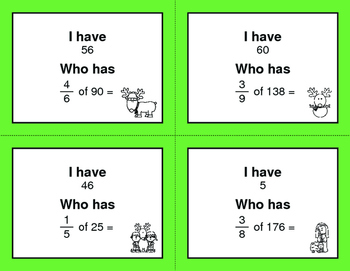 Christmas Math: I Have, Who Has - Fractions of a Set