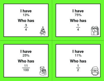 Christmas Math: I Have, Who Has - Fractions to Percents