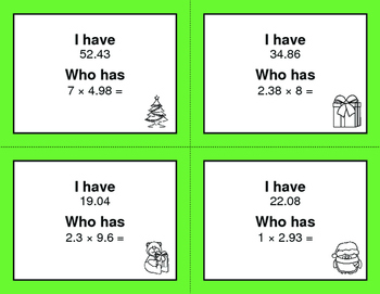 Christmas Math: I Have, Who Has - Multiplying Decimals