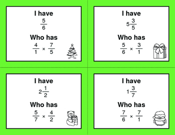 Christmas Math: I Have, Who Has - Multiplying Fractions