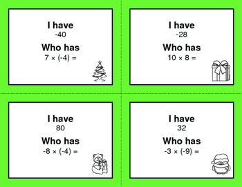 Christmas Math: I Have, Who Has - Multiplying Integers