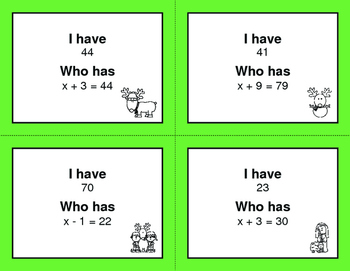 Christmas Math: I Have, Who Has - One Step Equations (Addition & Subtraction)