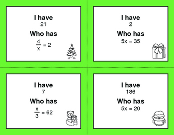 Christmas Math: I Have, Who Has - One Step Equations (Multiplication & Division)