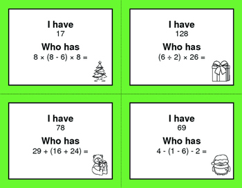 Christmas Math: I Have, Who Has - Order of Operations