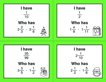 Christmas Math: I Have, Who Has - Subtracting Mixed Fractions