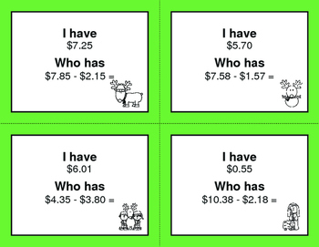 Christmas Math: I Have, Who Has - Subtracting Money