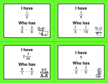 Christmas Math: I Have, Who Has - Subtracting Unlike Fractions