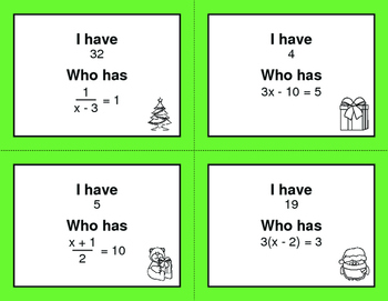 Christmas Math: I Have, Who Has - Two Step Equations
