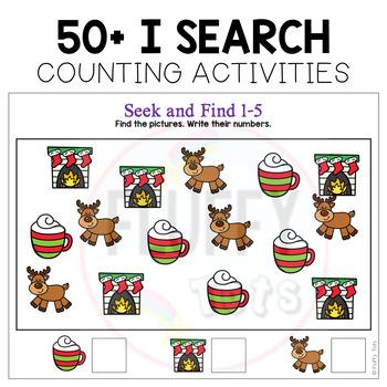 Christmas Math I Spy Game Counting 1 to 10 - NO-PREP