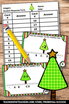 Christmas Math Activities Integers on a Number Line, 6th Grade Math Review Games