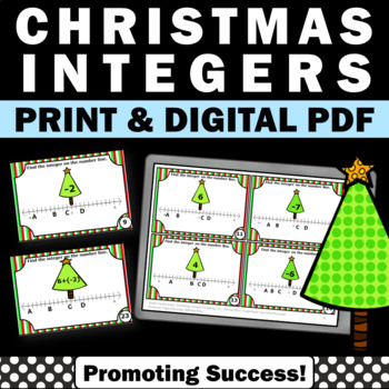 Christmas Trees Integers Number Line Math Task Cards for C