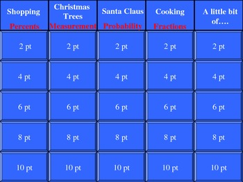 Christmas Math Jeopardy#2 with Handouts for Review