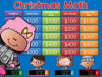 Christmas Math 1st & 2nd Gr Jeopardy Style Game Show
