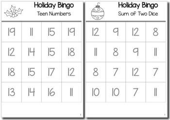 Christmas Math Kindergarten BINGO Game Bundle