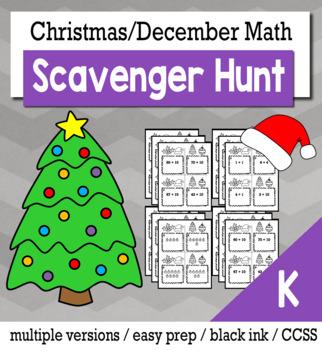 Christmas Math Kindergarten Scavenger Hunt Game Bundle