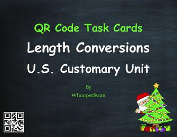 Christmas Math: Length Conversions U.S. Customary Unit QR