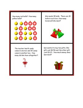 Winter Math (Christmas) : Fractions, Place Value, Word Problems, Measurement