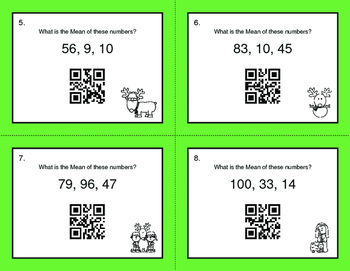 Christmas Math: Mean QR Code Task Cards