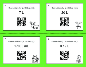 Christmas Math: Metric Capacity Conversions QR Code Task Cards