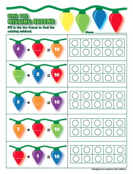 Christmas Math - Missing Addends