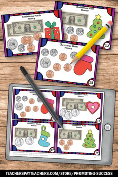 Christmas Math Activities, Counting Money Task Cards, Dollars and Cents Games