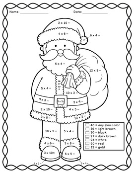 Color by Number Christmas Multiplication by Talented in ...