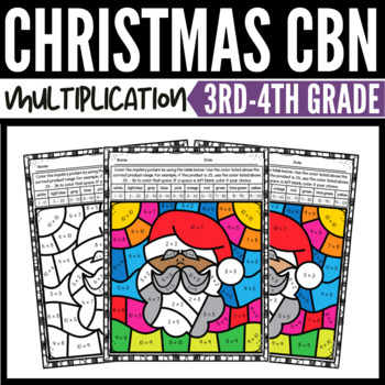 Christmas Math Multiplication Color-by-Number Worksheets 2