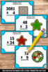 Winter or Christmas Math Multiplication Task Cards 4th 5th Grade Center Games