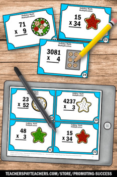 Christmas Math Activities, 4th Grade Multiplication Centers Task Cards