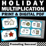 Multiplication Task Cards for 4th or 5th Grade Christmas Math Activities & Games