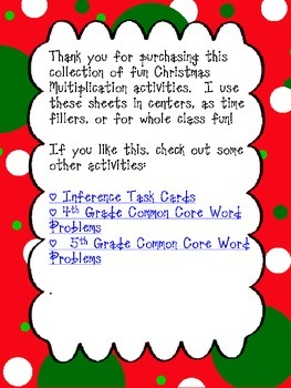 Christmas Math:  Multiplication Edition