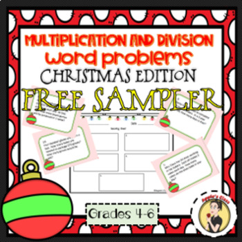 Christmas Math Multiplication and Division Word Problems Task Cards Free