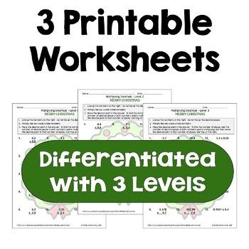 Christmas Multiplying Decimals Worksheets (3 Levels)