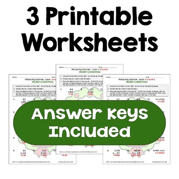 Christmas Multiplying Decimals Worksheets (Differentiated with 3 Levels)