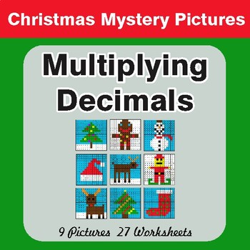 Christmas Math: Multiplying Decimals - Color-By-Number Math Mystery Pictures