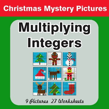 Christmas Math: Multiplying Integers - Color-By-Number Mystery Pictures