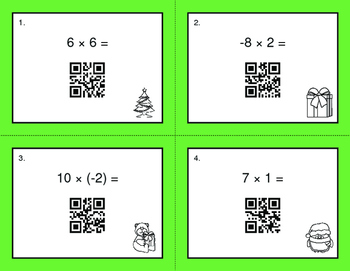 Christmas Math: Multiplying Integers QR Code Task Cards