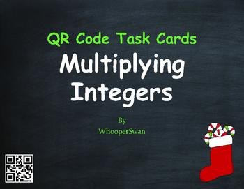 Christmas Math: Multiplying Integers QR Code Task Cards