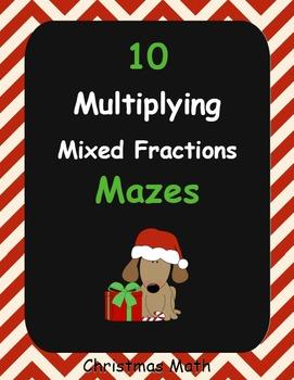 Christmas Math: Multiplying Mixed Fractions Maze