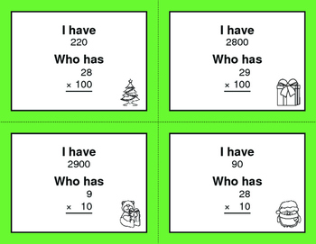 Christmas Math: Multiplying by 10, 100, and 1000 - I Have, Who Has